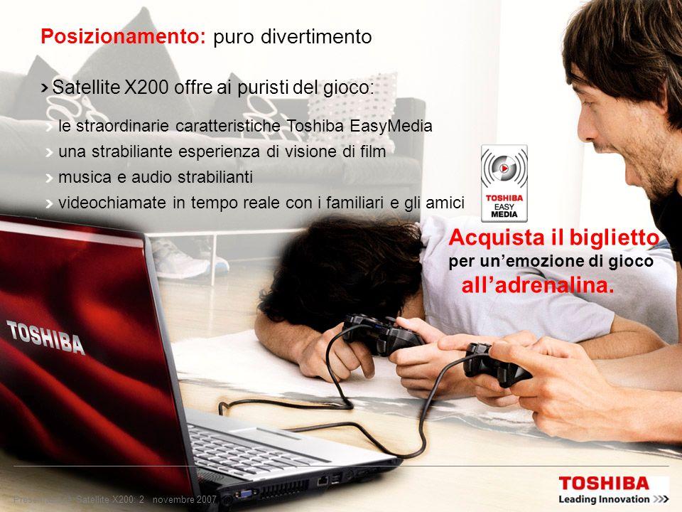 Copyright © 2007 Toshiba Corporation. Tutti i diritti riservati. Satellite X200 TEG, novembre 2007 Puro divertimento