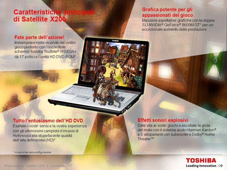 Presentazione Satellite X200: 2 novembre 2007 Posizionamento: puro divertimento Satellite X200 offre ai puristi del gioco: Acquista il biglietto per u