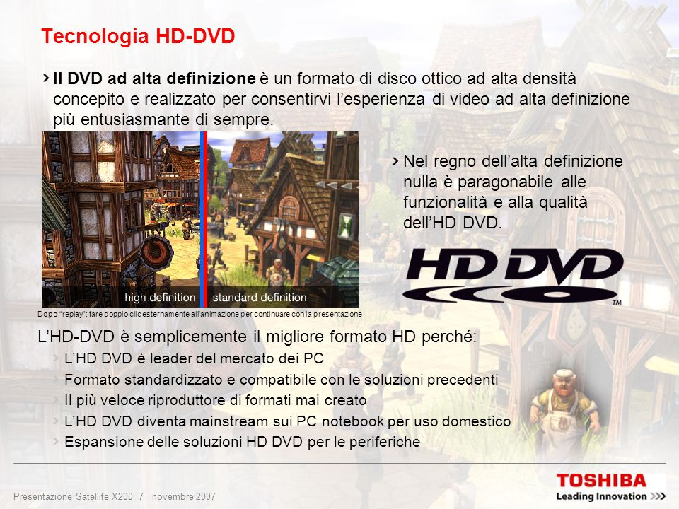 Presentazione Satellite X200: 6 novembre 2007 Schermo TFT 1.680 x 1.050 pixel in formato 16:10 Schermo Toshiba TruBrite ® sorprendentemente brillante