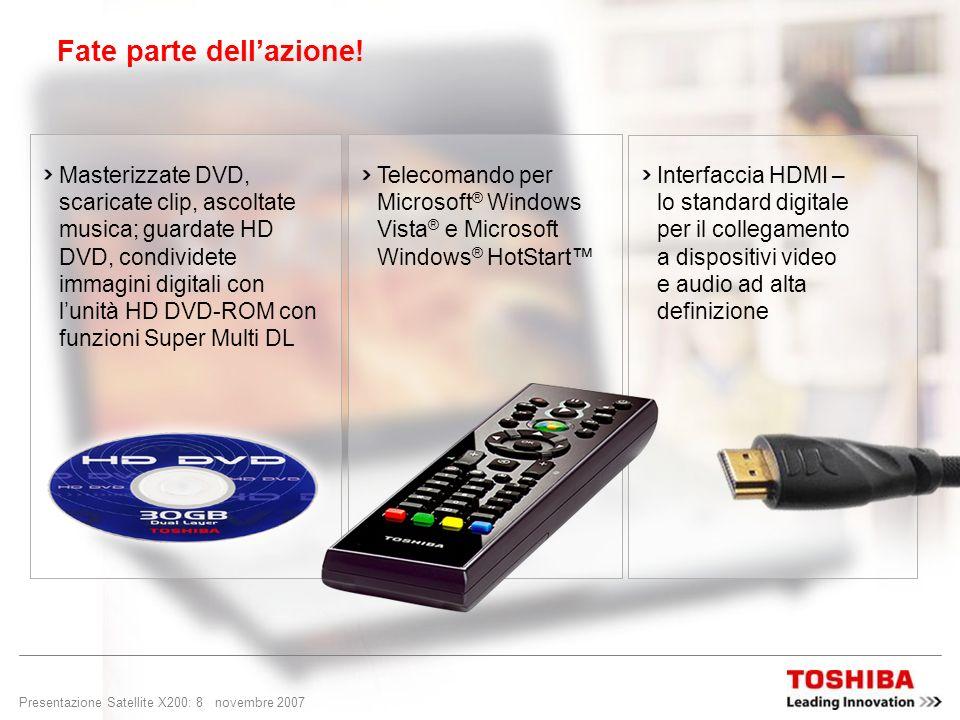Presentazione Satellite X200: 7 novembre 2007 Il DVD ad alta definizione è un formato di disco ottico ad alta densità concepito e realizzato per conse