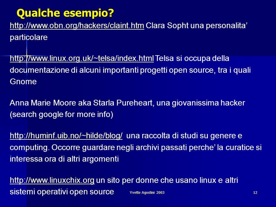 Yvette Agostini 200312 Qualche esempio? http://www.obn.org/hackers/claint.htmhttp://www.obn.org/hackers/claint.htm Clara Sopht una personalita partico