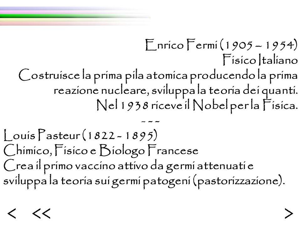 Enrico Fermi (1905 – 1954) Fisico Italiano Costruisce la prima pila atomica producendo la prima reazione nucleare, sviluppa la teoria dei quanti. Nel