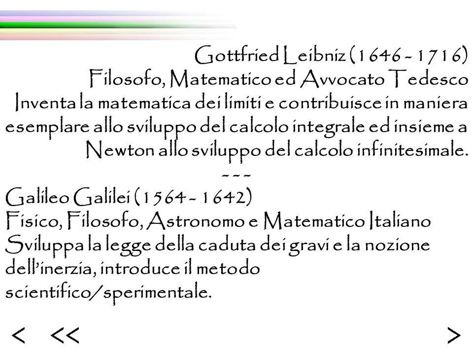 Gottfried Leibniz (1646 - 1716) Filosofo, Matematico ed Avvocato Tedesco Inventa la matematica dei limiti e contribuisce in maniera esemplare allo sviluppo del calcolo integrale ed insieme a Newton allo sviluppo del calcolo infinitesimale.