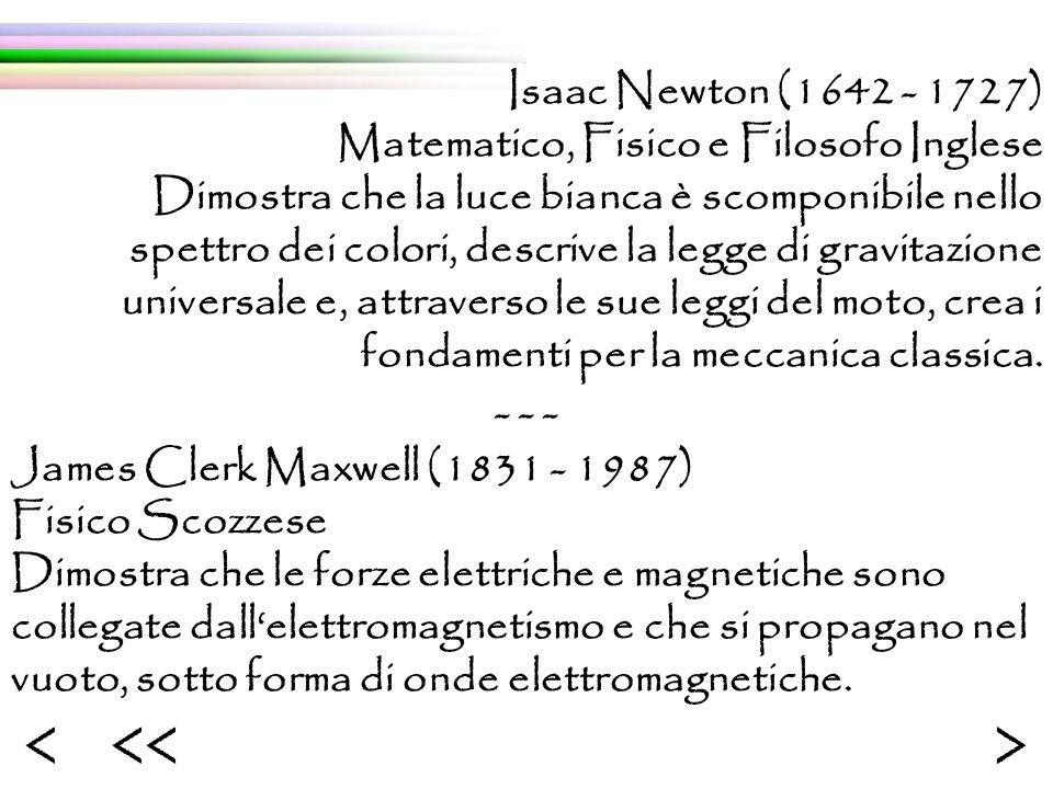 Isaac Newton (1642 - 1727) Matematico, Fisico e Filosofo Inglese Dimostra che la luce bianca è scomponibile nello spettro dei colori, descrive la legge di gravitazione universale e, attraverso le sue leggi del moto, crea i fondamenti per la meccanica classica.