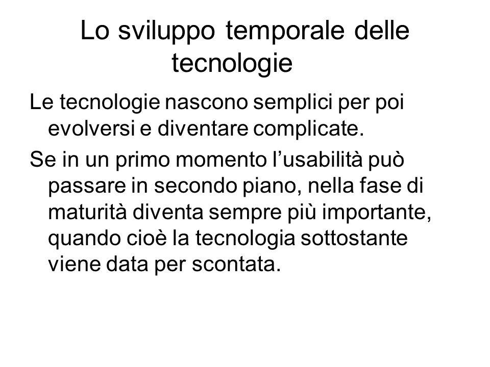Lo sviluppo temporale delle tecnologie Le tecnologie nascono semplici per poi evolversi e diventare complicate.
