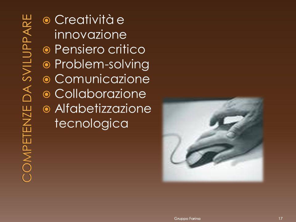 Creatività e innovazione Pensiero critico Problem-solving Comunicazione Collaborazione Alfabetizzazione tecnologica Gruppo Farina17
