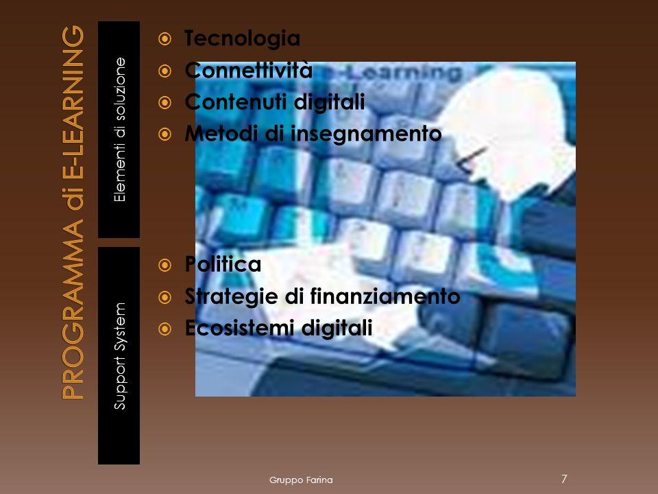 Elementi di soluzione Support System Tecnologia Connettività Contenuti digitali Metodi di insegnamento Politica Strategie di finanziamento Ecosistemi digitali Gruppo Farina 7