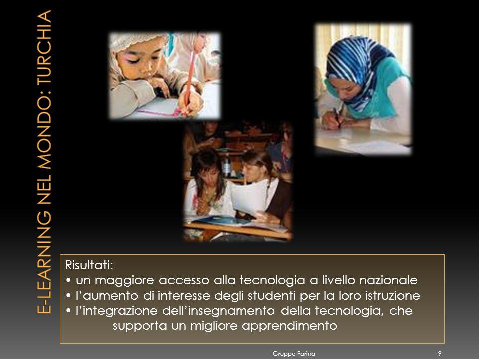 Risultati: un maggiore accesso alla tecnologia a livello nazionale laumento di interesse degli studenti per la loro istruzione lintegrazione dellinsegnamento della tecnologia, che supporta un migliore apprendimento Gruppo Farina 9