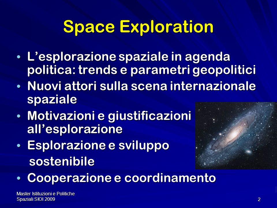 Master Istituzioni e Politiche Spaziali SIOI 200913 Space Exploration Missions