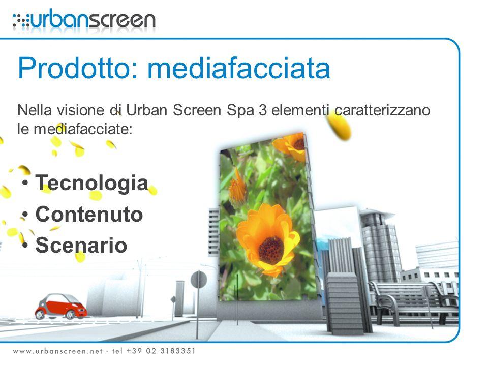 Prodotto: mediafacciata Nella visione di Urban Screen Spa 3 elementi caratterizzano le mediafacciate: Tecnologia Contenuto Scenario