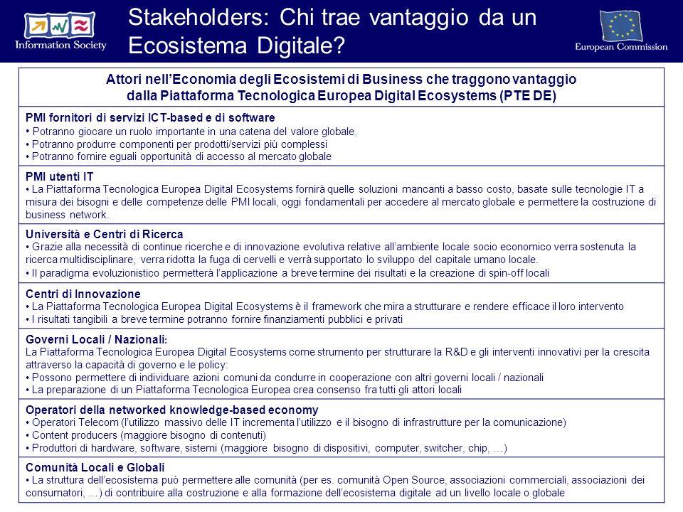 Attori nellEconomia degli Ecosistemi di Business che traggono vantaggio dalla Piattaforma Tecnologica Europea Digital Ecosystems (PTE DE) PMI fornitori di servizi ICT-based e di software Potranno giocare un ruolo importante in una catena del valore globale, Potranno produrre componenti per prodotti/servizi più complessi Potranno fornire eguali opportunità di accesso al mercato globale PMI utenti IT La Piattaforma Tecnologica Europea Digital Ecosystems fornirà quelle soluzioni mancanti a basso costo, basate sulle tecnologie IT a misura dei bisogni e delle competenze delle PMI locali, oggi fondamentali per accedere al mercato globale e permettere la costruzione di business network.