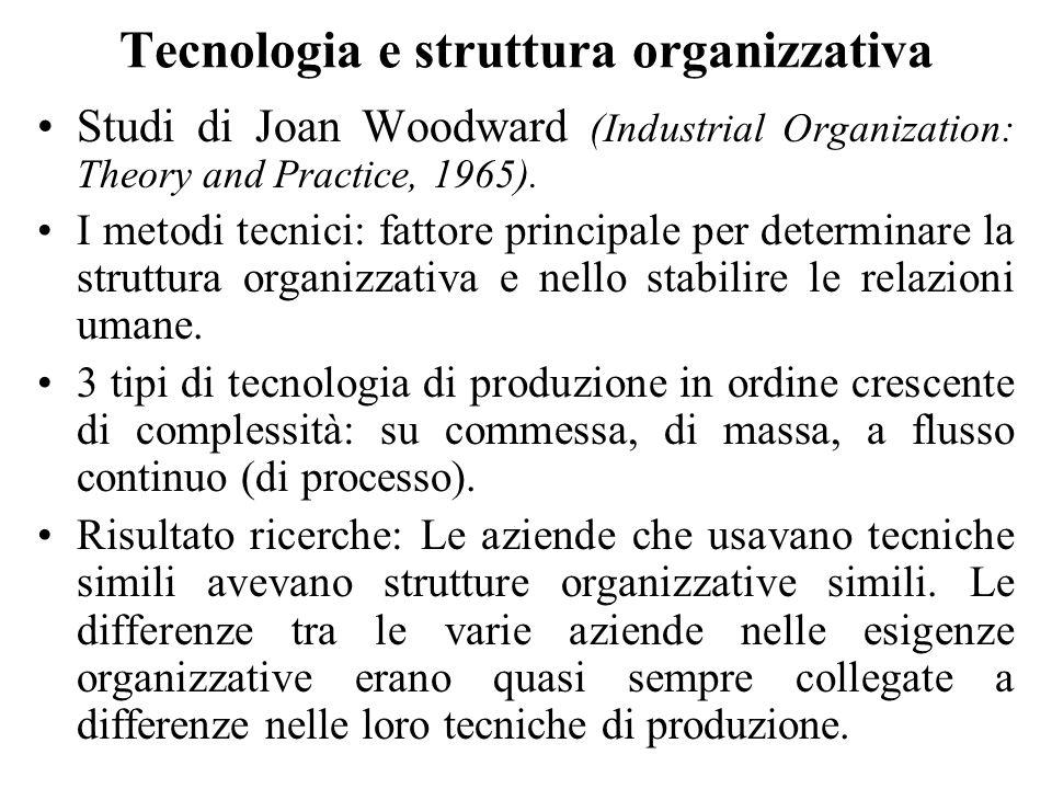 Tecnologia e struttura organizzativa Studi di Joan Woodward (Industrial Organization: Theory and Practice, 1965). I metodi tecnici: fattore principale