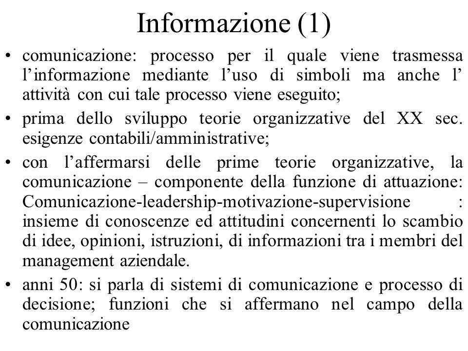 Informazione (1) comunicazione: processo per il quale viene trasmessa linformazione mediante luso di simboli ma anche l attività con cui tale processo viene eseguito; prima dello sviluppo teorie organizzative del XX sec.