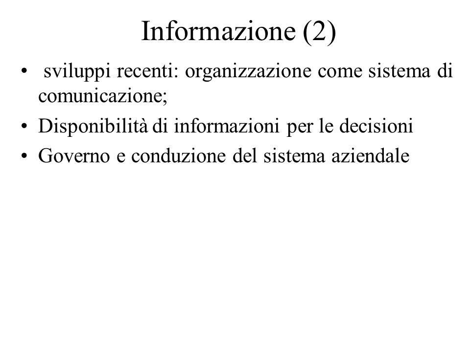 Informazione (2) sviluppi recenti: organizzazione come sistema di comunicazione; Disponibilità di informazioni per le decisioni Governo e conduzione del sistema aziendale