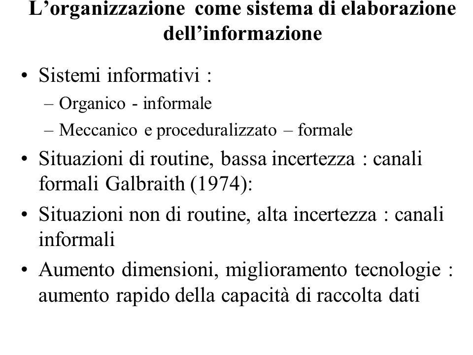 Lorganizzazione come sistema di elaborazione dellinformazione Sistemi informativi : –Organico - informale –Meccanico e proceduralizzato – formale Situ
