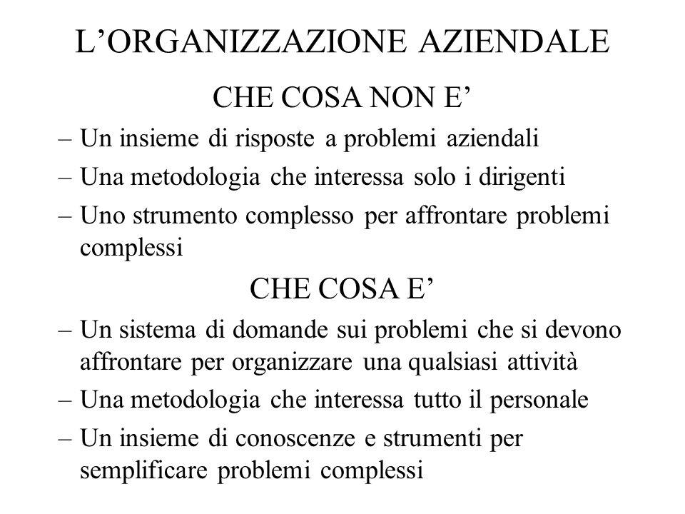 LORGANIZZAZIONE AZIENDALE CHE COSA NON E –Un insieme di risposte a problemi aziendali –Una metodologia che interessa solo i dirigenti –Uno strumento c