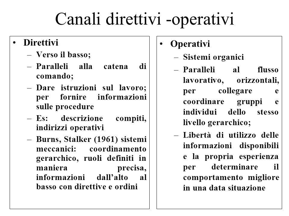 Canali direttivi -operativi Direttivi –Verso il basso; –Paralleli alla catena di comando; –Dare istruzioni sul lavoro; per fornire informazioni sulle