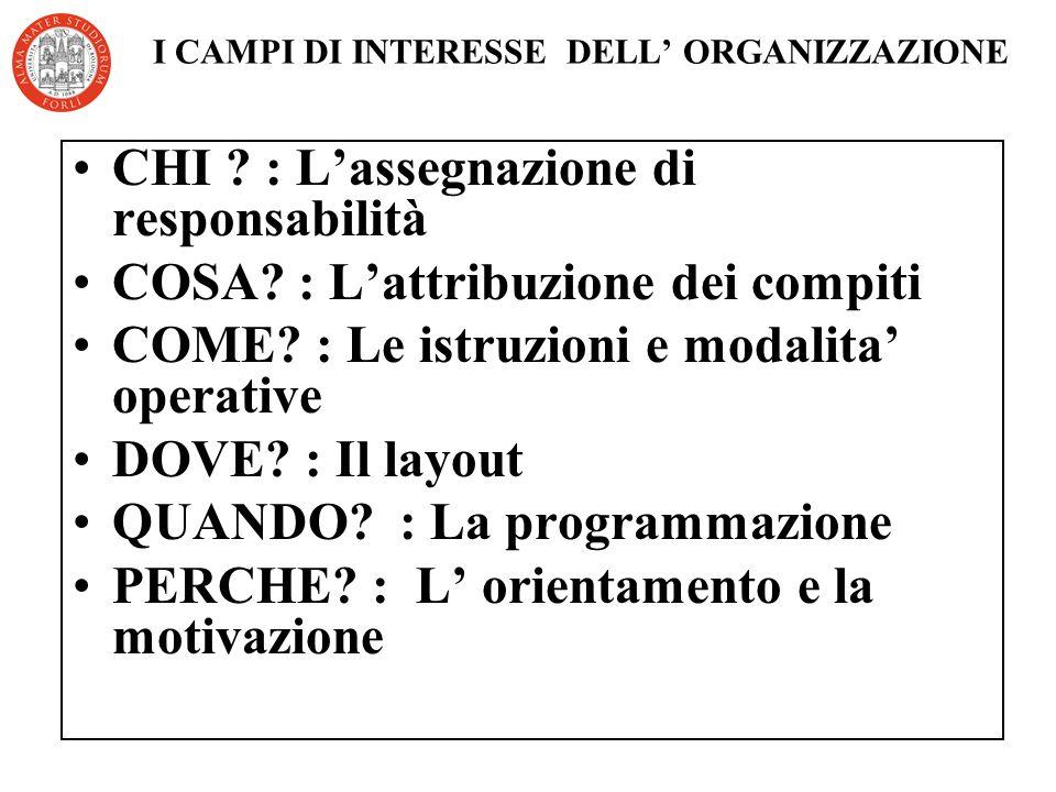 I CAMPI DI INTERESSE DELL ORGANIZZAZIONE CHI .: Lassegnazione di responsabilità COSA.