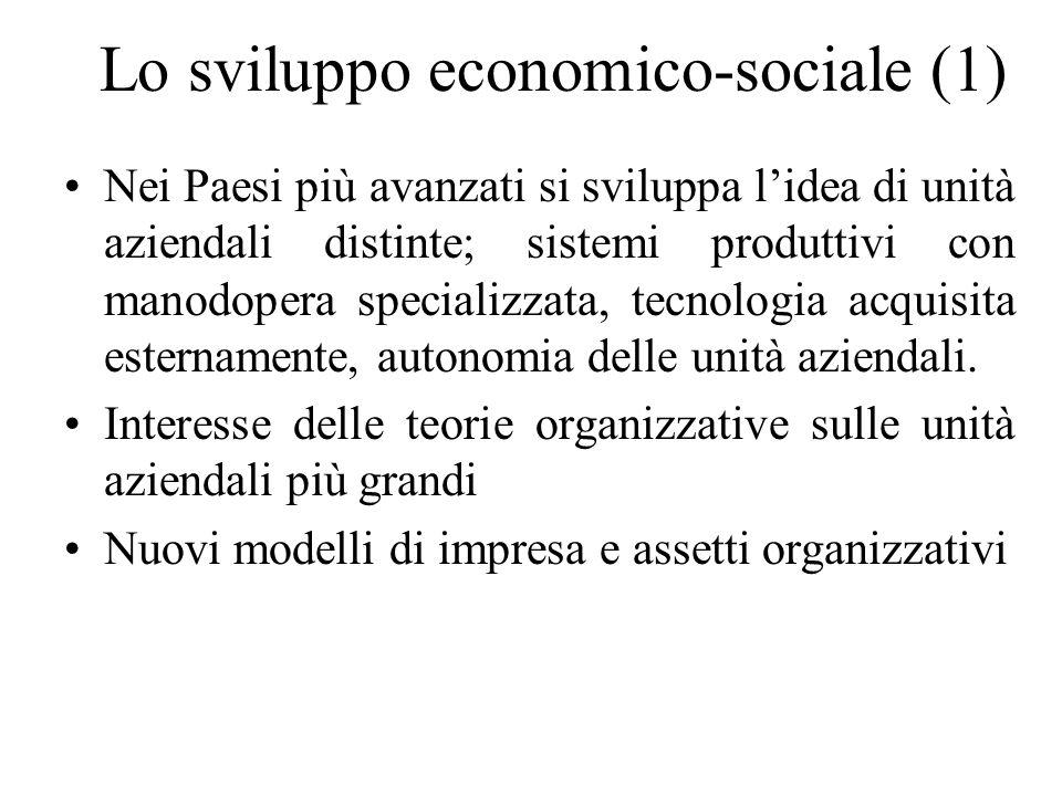 Lo sviluppo economico-sociale (1) Nei Paesi più avanzati si sviluppa lidea di unità aziendali distinte; sistemi produttivi con manodopera specializzata, tecnologia acquisita esternamente, autonomia delle unità aziendali.
