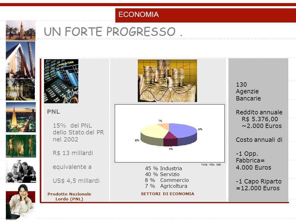 ECONOMIA SETTORI DI ECONOMIA PNL 15% del PNL dello Stato del PR nel 2002 R$ 13 millardi equivalente a US$ 4,5 millardi Prodotto Nazionale Lordo (PNL) 130 Agenzie Bancarie Reddito annuale R$ 5.376,00 ~2.000 Euros Costo annuali di -1 Opp.