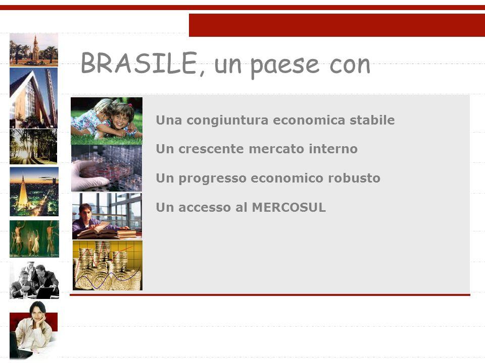 BRASILE, un paese con Una congiuntura economica stabile Un crescente mercato interno Un progresso economico robusto Un accesso al MERCOSUL