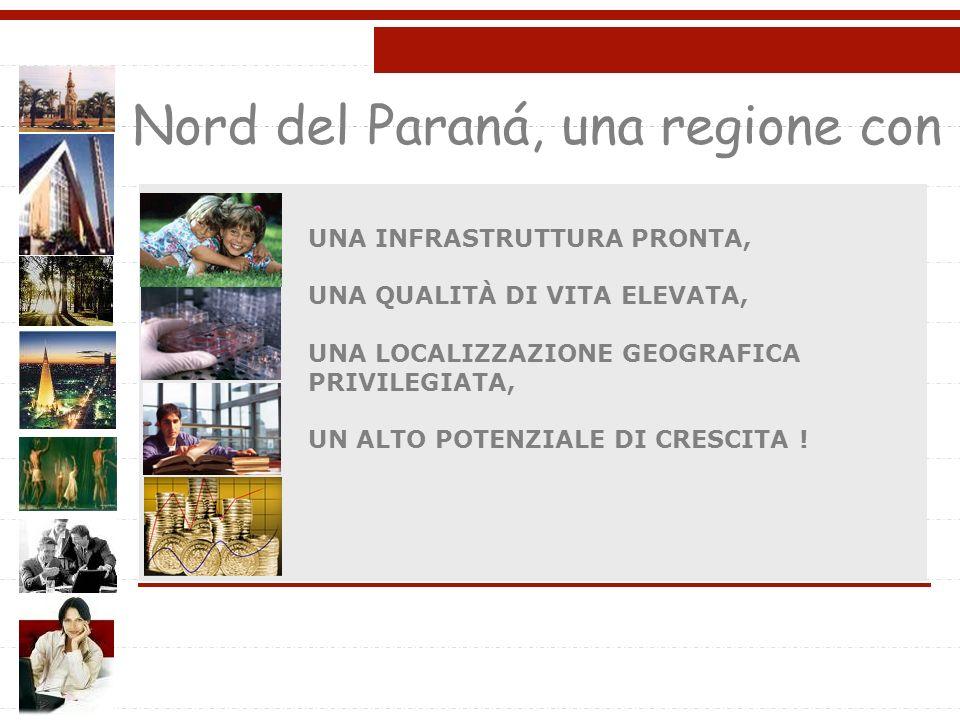Nord del Paraná, una regione con UNA INFRASTRUTTURA PRONTA, UNA QUALITÀ DI VITA ELEVATA, UNA LOCALIZZAZIONE GEOGRAFICA PRIVILEGIATA, UN ALTO POTENZIALE DI CRESCITA !