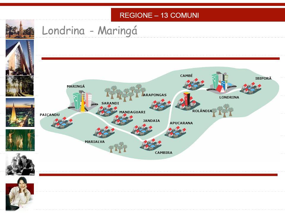 Londrina - Maringá IBIPORÃ LONDRINA CAMBÉ ROLÂNDIA ARAPONGAS APUCARANA CAMBIRA JANDAIA MANDAGUARI MARIALVA SARANDI MARINGÁ PAIÇANDU REGIONE – 13 COMUNI