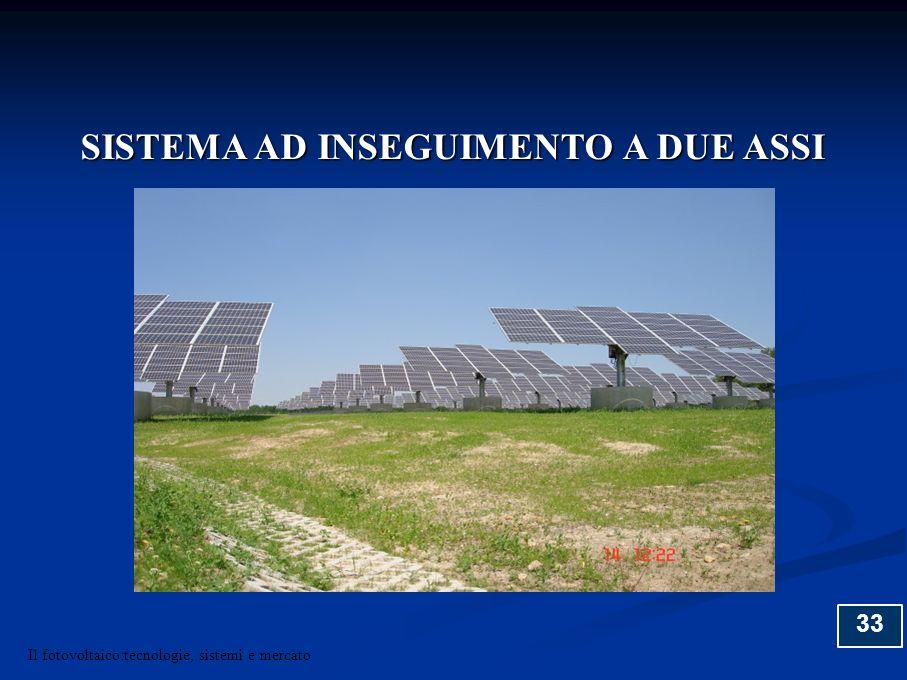 33 SISTEMA AD INSEGUIMENTO A DUE ASSI Il fotovoltaico:tecnologie, sistemi e mercato
