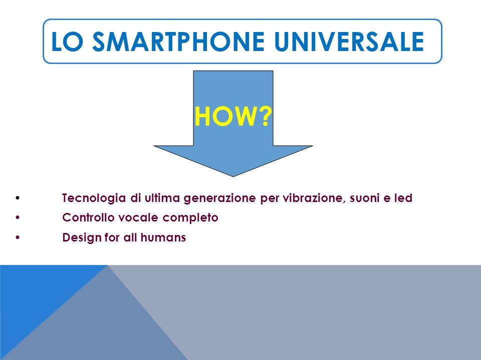 LO SMARTPHONE UNIVERSALE Tecnologia di ultima generazione per vibrazione, suoni e led Controllo vocale completo Design for all humans HOW
