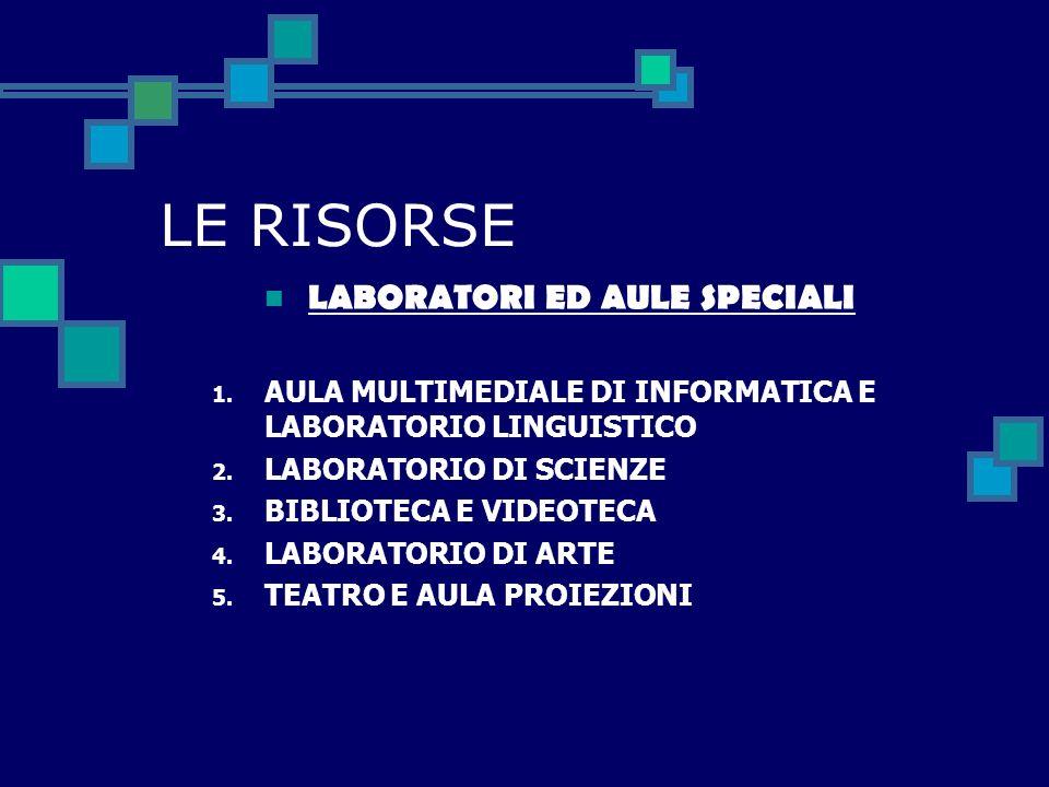 LE RISORSE LABORATORI ED AULE SPECIALI 1.