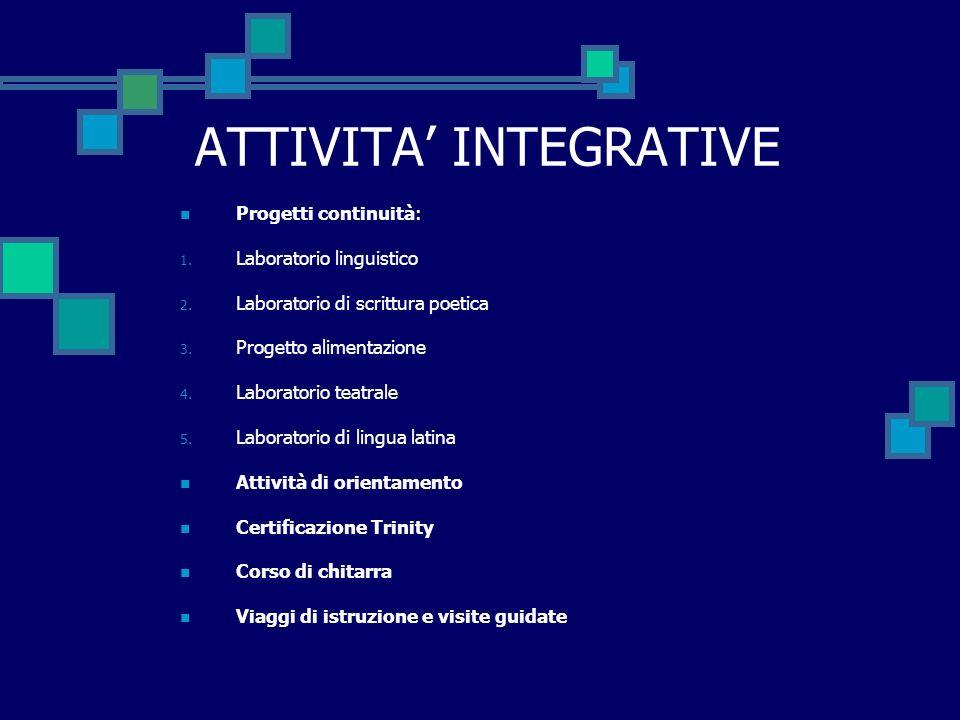 ATTIVITA INTEGRATIVE Progetti continuità: 1. Laboratorio linguistico 2.