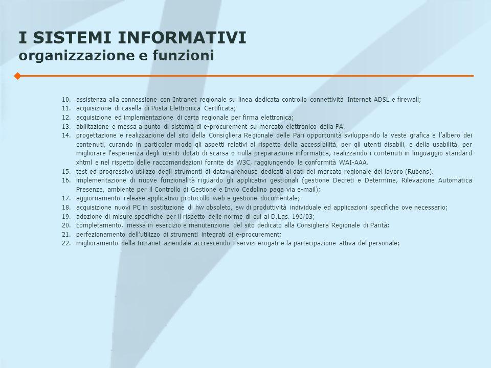 I SISTEMI INFORMATIVI organizzazione e funzioni 10.assistenza alla connessione con Intranet regionale su linea dedicata controllo connettività Interne