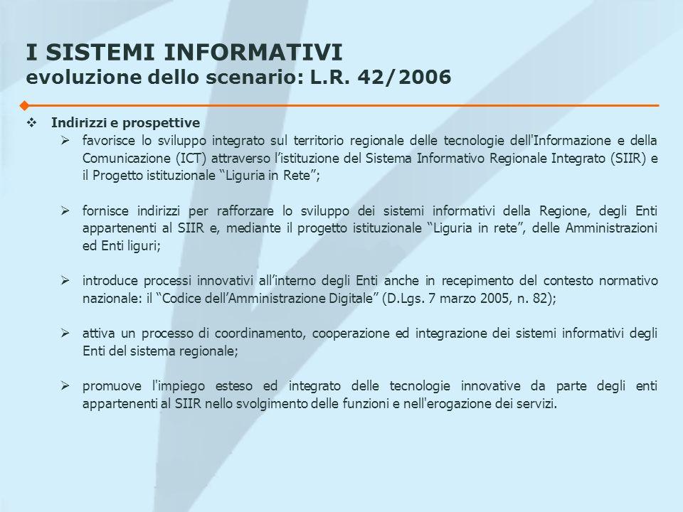 I SISTEMI INFORMATIVI evoluzione dello scenario: L.R. 42/2006 Indirizzi e prospettive favorisce lo sviluppo integrato sul territorio regionale delle t