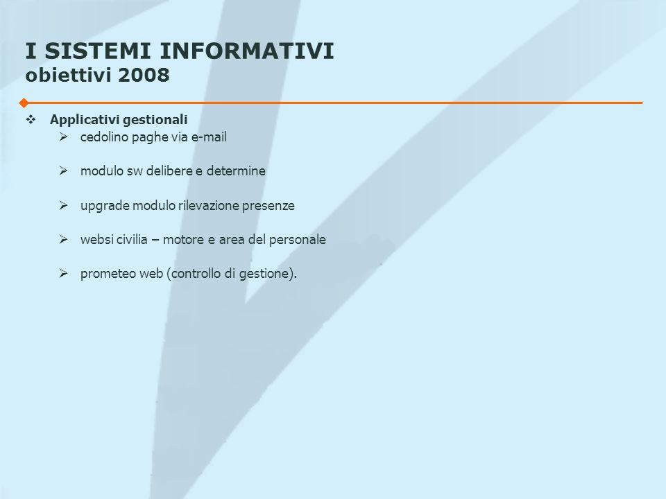 I SISTEMI INFORMATIVI obiettivi 2008 Applicativi gestionali cedolino paghe via e-mail modulo sw delibere e determine upgrade modulo rilevazione presen