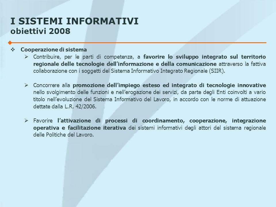 I SISTEMI INFORMATIVI obiettivi 2008 Cooperazione di sistema Contribuire, per le parti di competenza, a favorire lo sviluppo integrato sul territorio