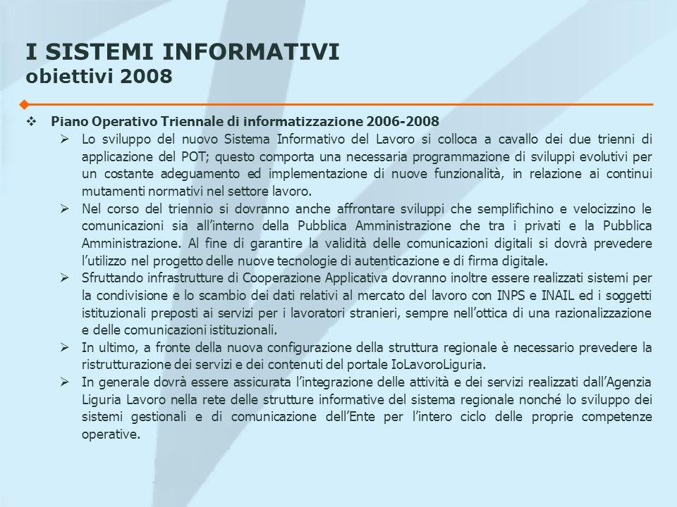I SISTEMI INFORMATIVI obiettivi 2008 Piano Operativo Triennale di informatizzazione 2006-2008 Lo sviluppo del nuovo Sistema Informativo del Lavoro si