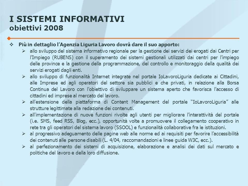 I SISTEMI INFORMATIVI obiettivi 2008 Più in dettaglio lAgenzia Liguria Lavoro dovrà dare il suo apporto: allo sviluppo del sistema informativo regiona