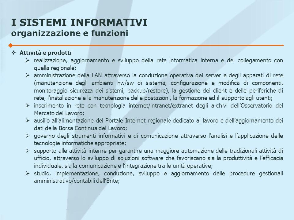 I SISTEMI INFORMATIVI organizzazione e funzioni Attività e prodotti realizzazione, aggiornamento e sviluppo della rete informatica interna e del colle