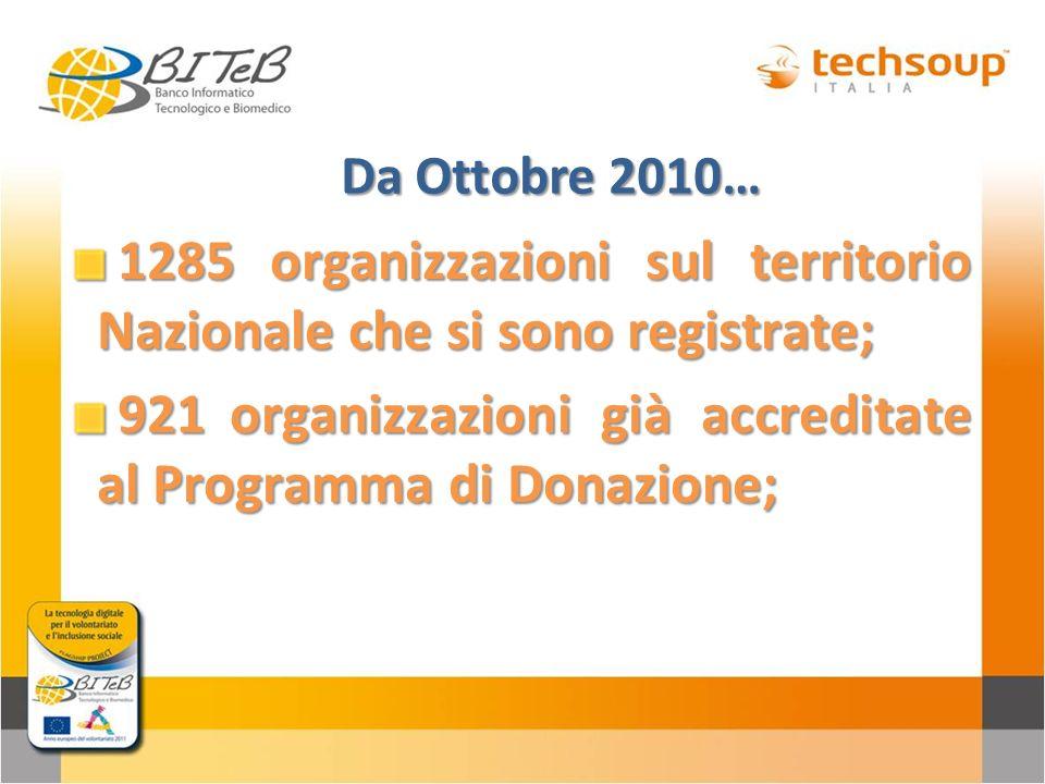 Da Ottobre 2010… 1285 organizzazioni sul territorio Nazionale che si sono registrate; 1285 organizzazioni sul territorio Nazionale che si sono registr