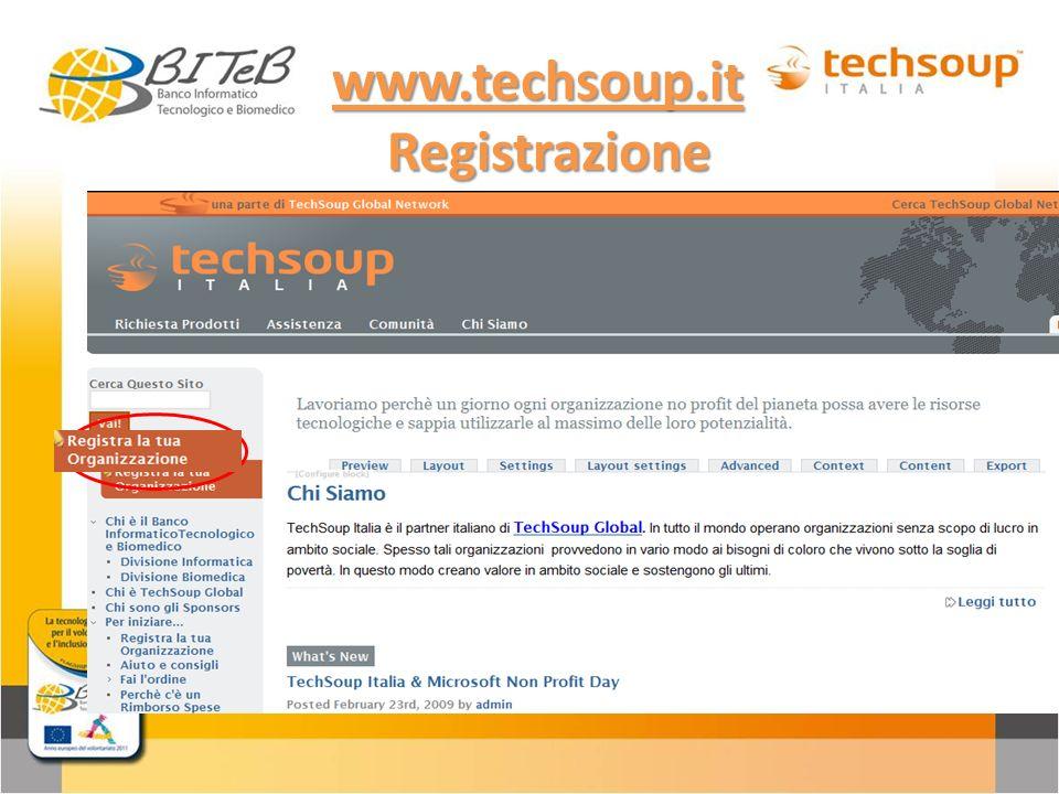 www.techsoup.it Registrazione Registrazione