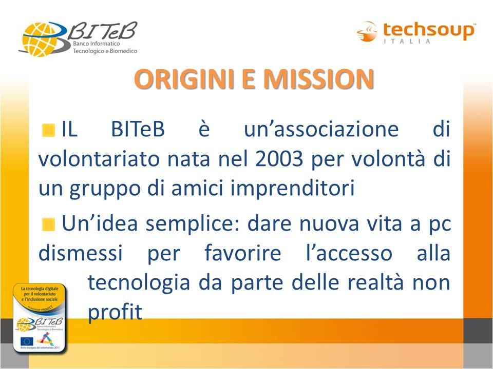ORIGINI E MISSION IL BITeB è unassociazione di volontariato nata nel 2003 per volontà di un gruppo di amici imprenditori Unidea semplice: dare nuova v