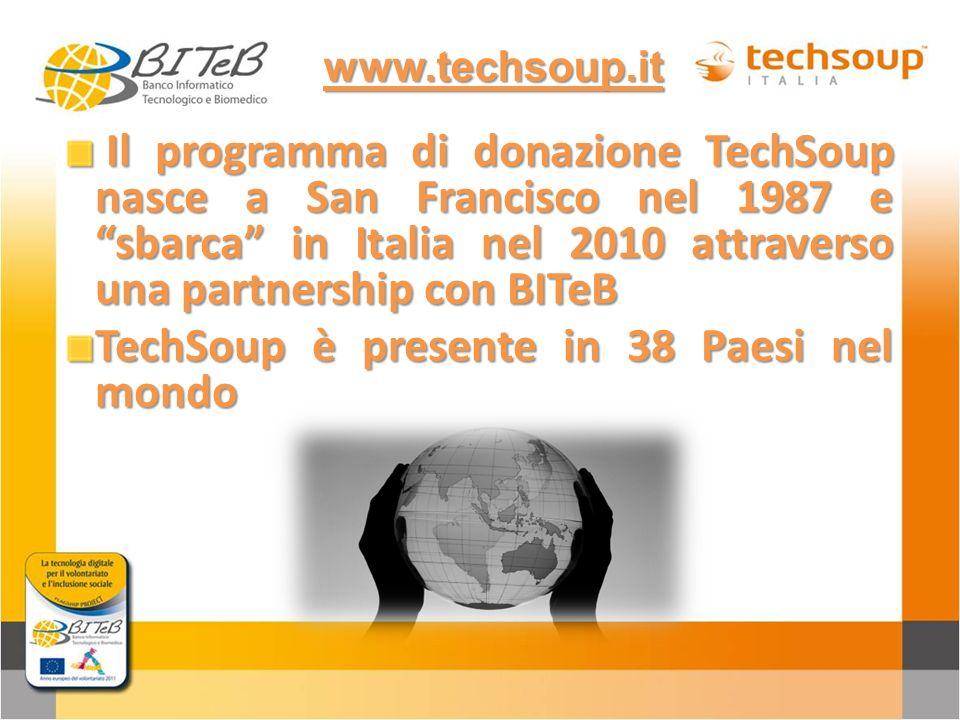 Il programma di donazione TechSoup nasce a San Francisco nel 1987 e sbarca in Italia nel 2010 attraverso una partnership con BITeB Il programma di don