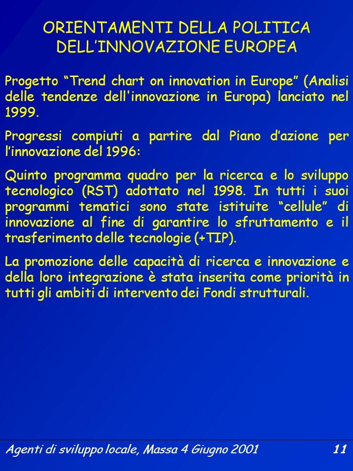 Agenti di sviluppo locale, Massa 4 Giugno 2001 10 Comunicazione della Commissione al Consiglio e al Parlamento Europeo (COM (2000) 567 Finale) Orienta