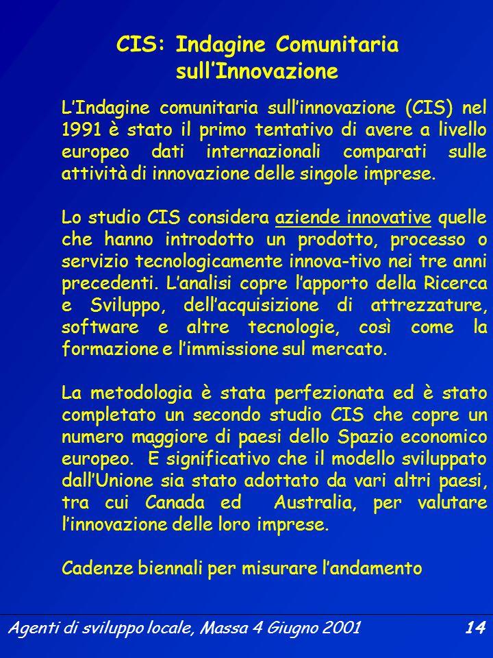 Agenti di sviluppo locale, Massa 4 Giugno 2001 13 Una tabella dellinnovazione basata su 16 indicatori principali che coprono quattro aree generali rel