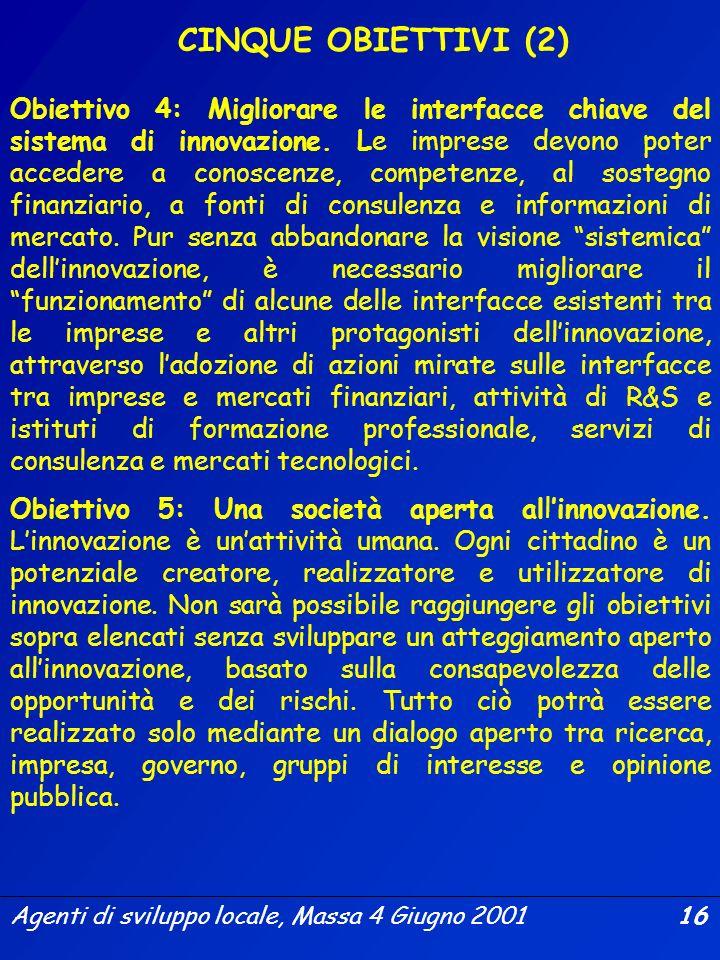 Agenti di sviluppo locale, Massa 4 Giugno 2001 15 Obiettivo 1: Coerenza delle politiche di innovazione. LUnione dovrebbe far tesoro delle misure e dei