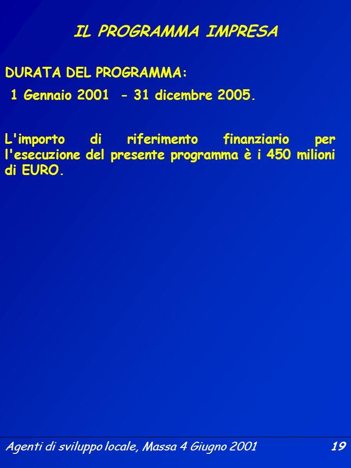 Agenti di sviluppo locale, Massa 4 Giugno 2001 18 IL PROGRAMMA IMPRESA OBIETTIVI a)rafforzare la crescita e la competitività delle imprese in un'econo