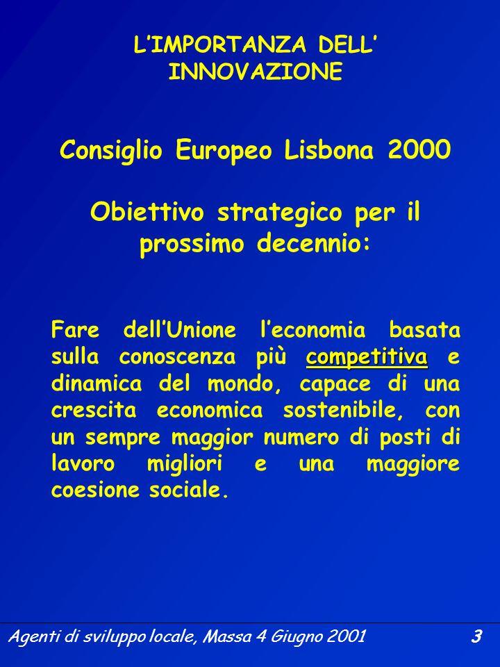 Agenti di sviluppo locale, Massa 4 Giugno 2001 2 COSA È LINNOVAZIONE? il rinnovo e lampliamento della gamma dei prodotti e dei servizi, nonché dei mer