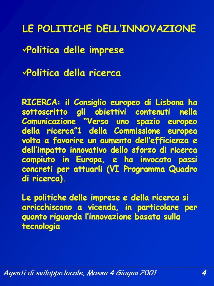 Agenti di sviluppo locale, Massa 4 Giugno 2001 3 LIMPORTANZA DELL INNOVAZIONE Consiglio Europeo Lisbona 2000 Obiettivo strategico per il prossimo dece