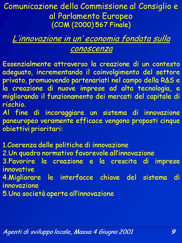 Agenti di sviluppo locale, Massa 4 Giugno 2001 8 Il Consiglio europeo di Lisbona ha invocato lintroduzione di un quadro comparativo dellinnovazione in
