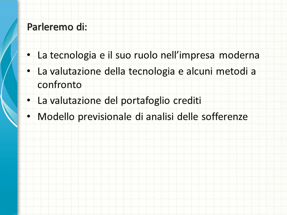 Parleremo di: La tecnologia e il suo ruolo nellimpresa moderna La valutazione della tecnologia e alcuni metodi a confronto La valutazione del portafoglio crediti Modello previsionale di analisi delle sofferenze